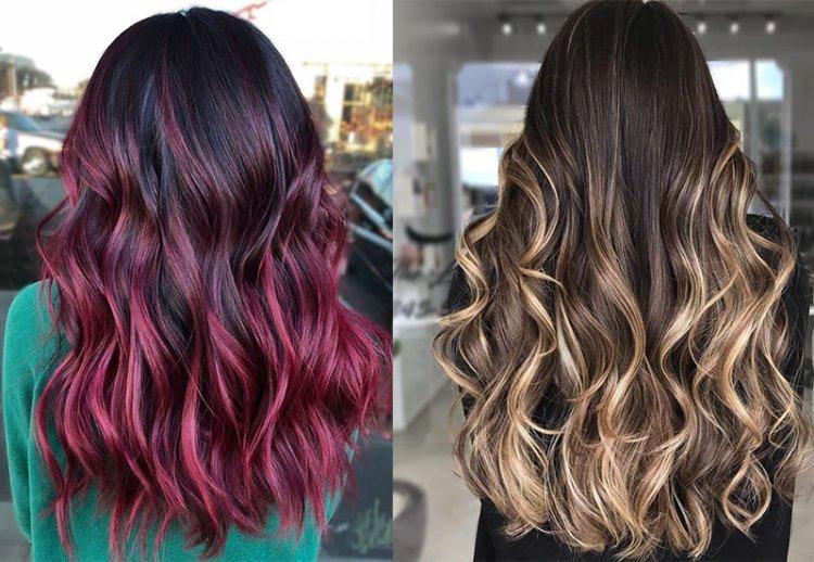 цветной балаяж на темные волосы