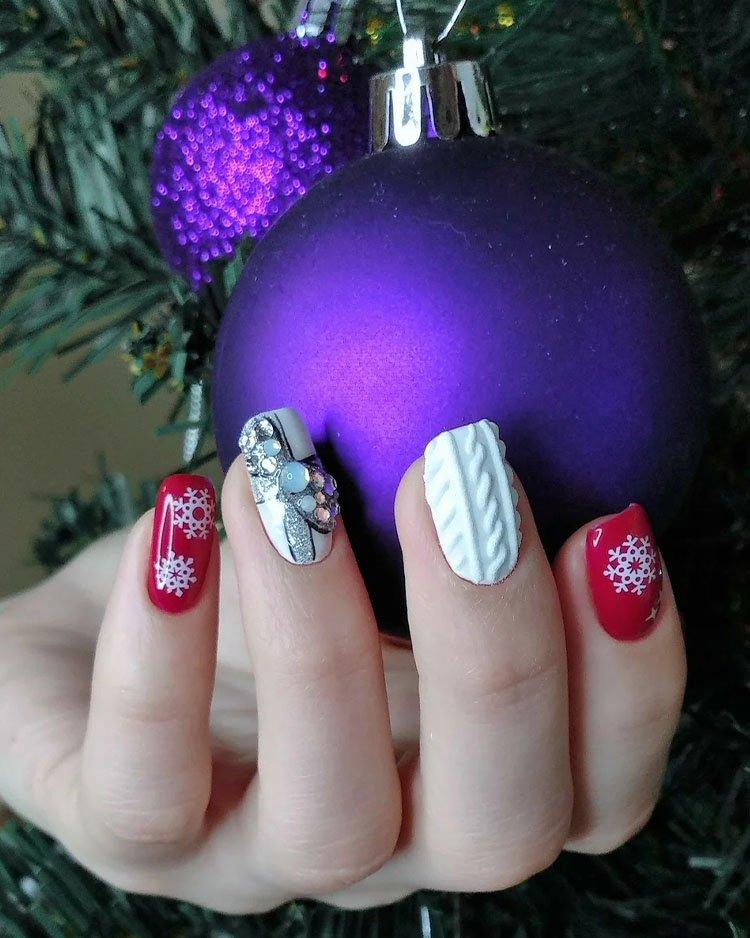 вязаные новогодние ногти