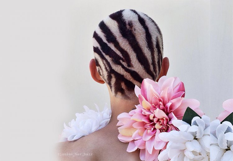 Инстаграмное креативное окрашивание на короткие волосы от Джанин Кер
