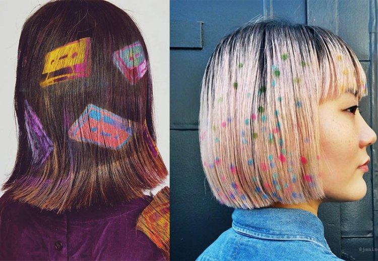 рисунки на длинных волосах