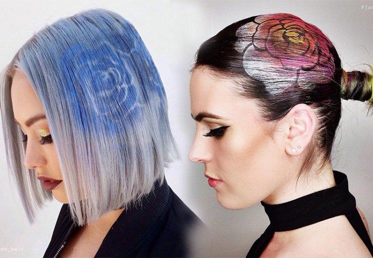 розы на волосах