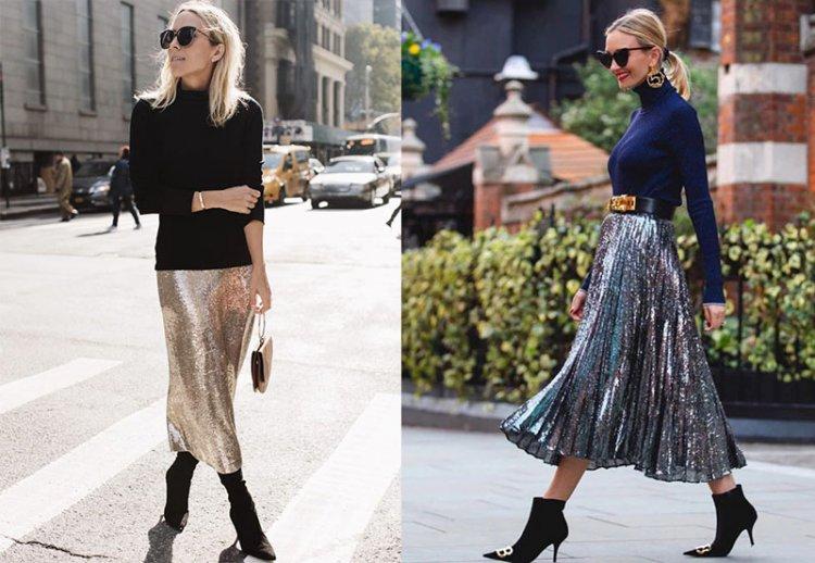 как носить блестящую юбку с пайетками