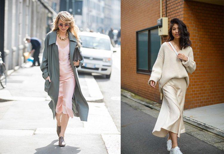 С чем носить платье-комбинацию