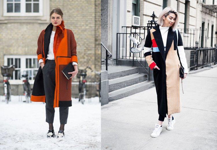 зимняя одежда в стиле колор-блок