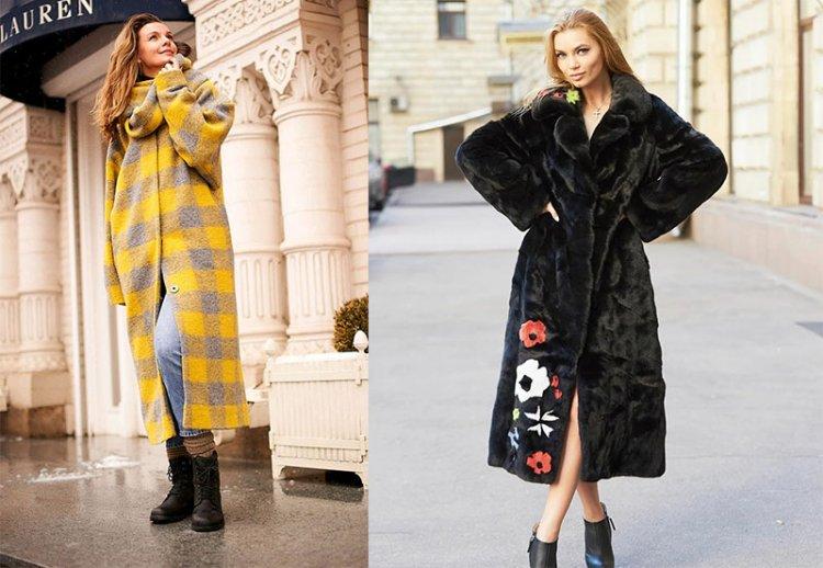 зимняя шуба и пальто с принтом