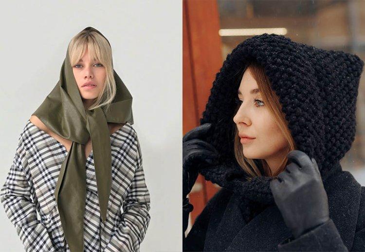 Модные зимние косынки и капоры в образе