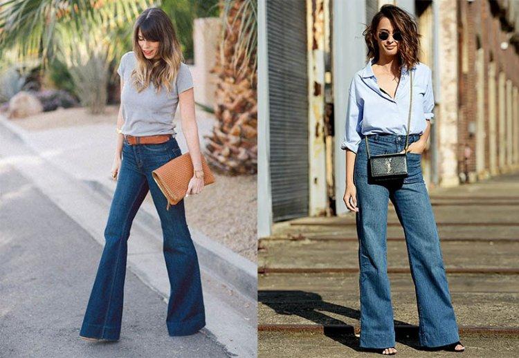 модные джинсы клеш 2021