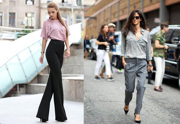 низкая девушка в брюках с завышенной талией