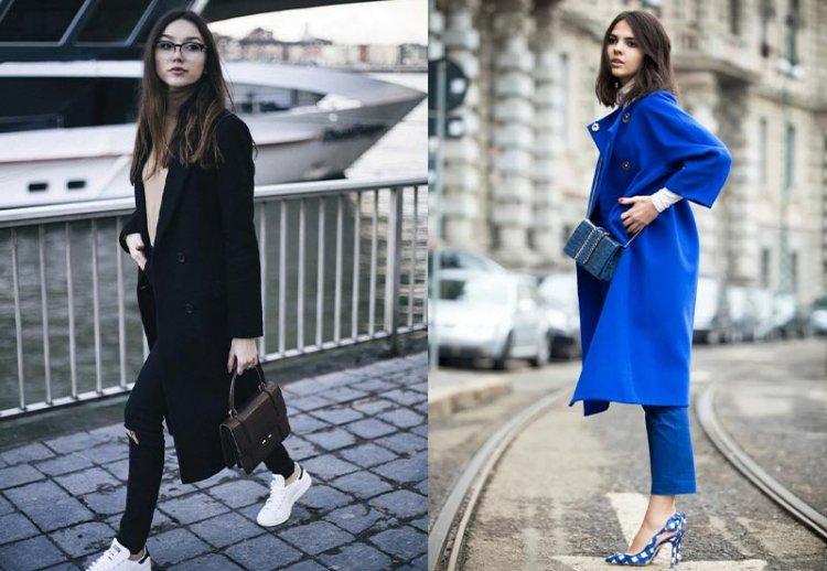 низкая девушка в черном и синем пальто