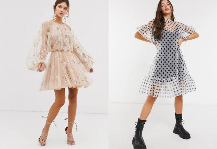 платья с прозрачным верхним слоем