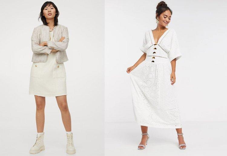 модное белое платье на весну 2021