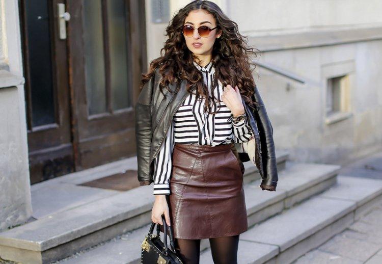 Модные кожаные юбки 2021: с чем носить