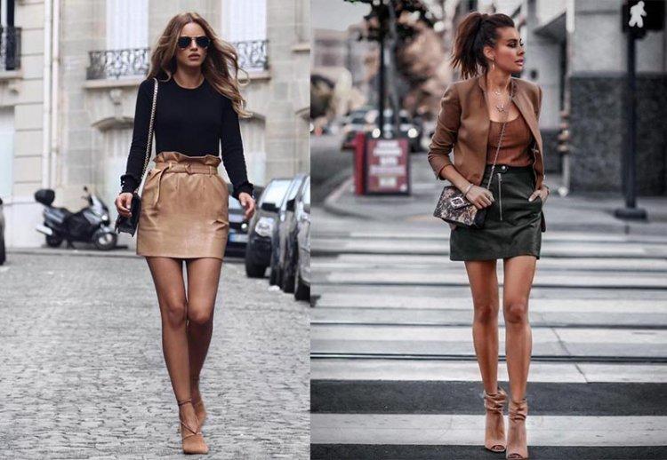 как носить короткую кожаную юбку