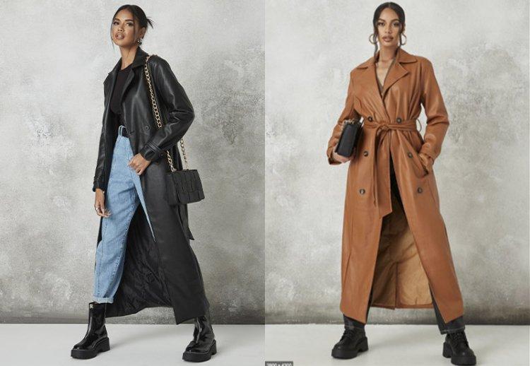 Модные кожаные плащи 2021