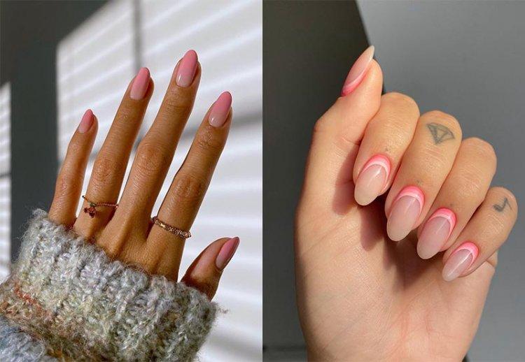 модный розовый маникюр градиент