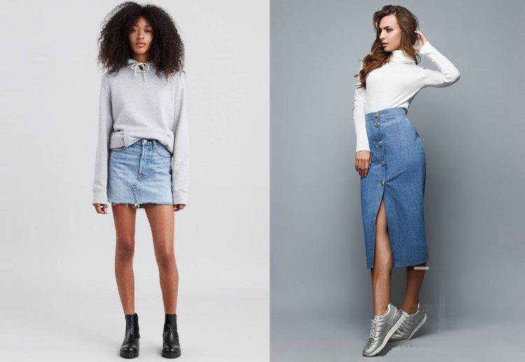 модная джинсовая юбка