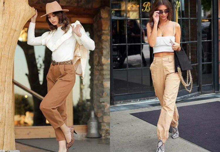 Модные бежевые брюки