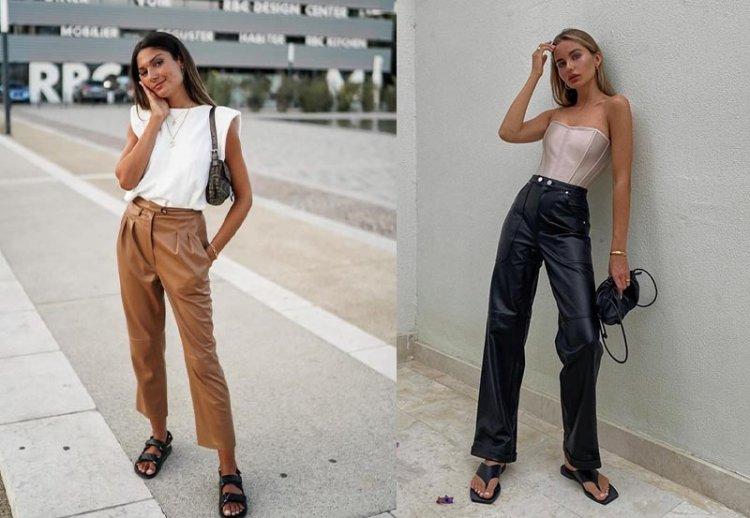 модные кожаные брюки на весну
