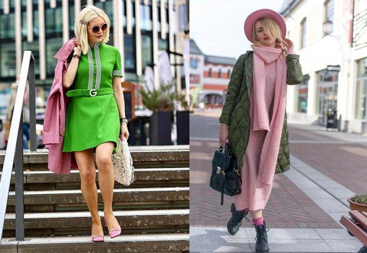 сочетание розового и зеленого в образе