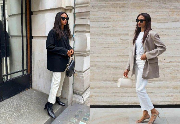 Белые джинсы с пиджаком мужского типа