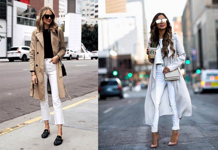 модный плащ с белыми джинсами