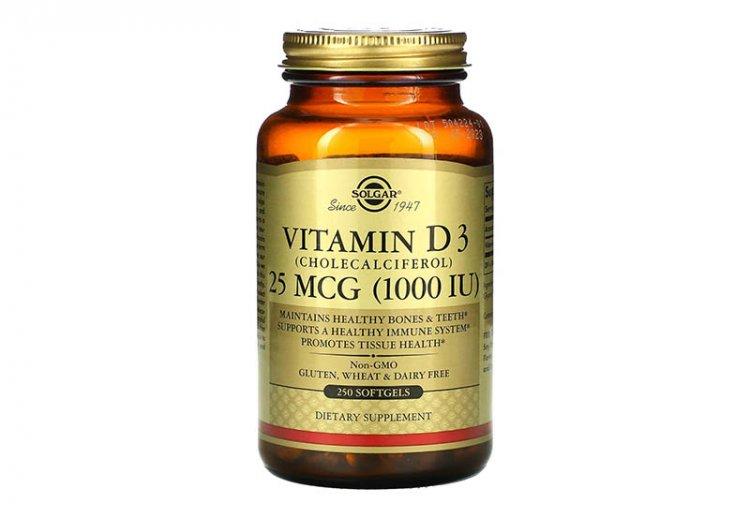 Solgar, витамин D3, холекальциферол, 25 мкг (1000 МЕ), 250 капсул