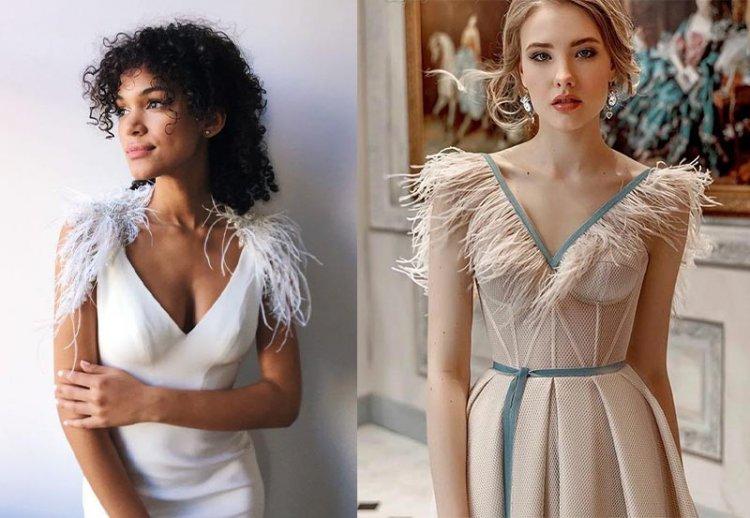 вечерние платья с перьями