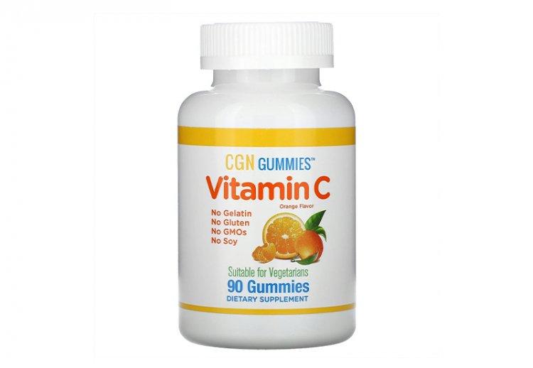California Gold Nutrition, жевательные таблетки с витамином C, натуральный апельсиновый вкус, без желатина, 90 жевательных таблеток