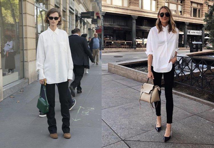 белая свободная рубашка с джинсами