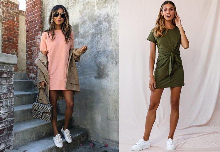 модное платье-футболка