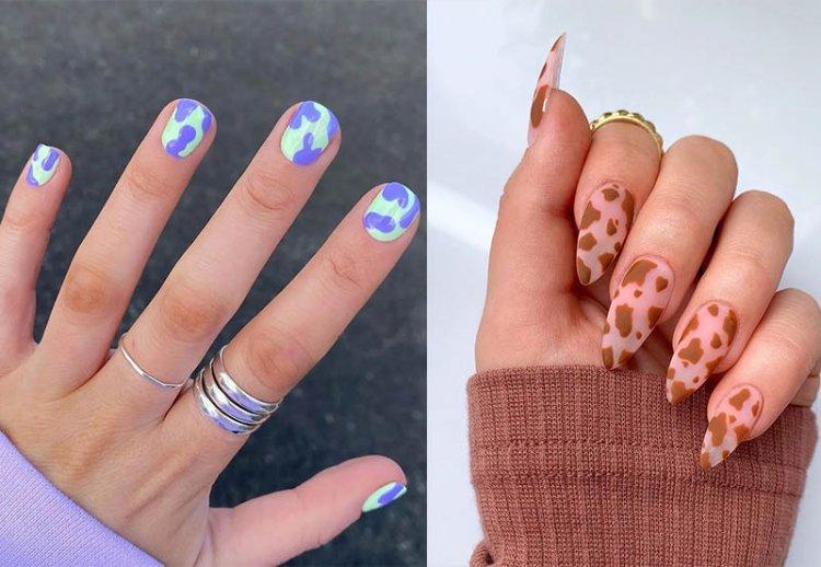 цветной коровий принт на ногтях