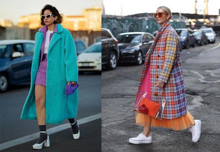 яркие модные пальто