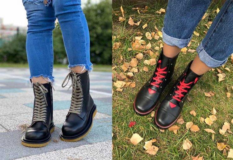 ботинки с цветной шнуровкой
