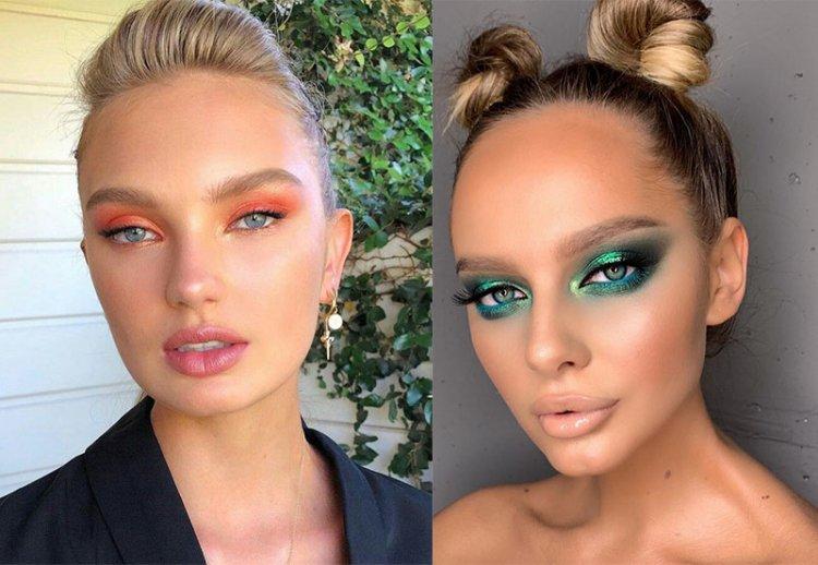 макияж с зелеными и розовыми тенями
