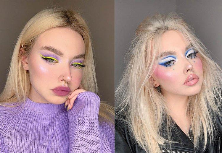 модный яркий арт макияж
