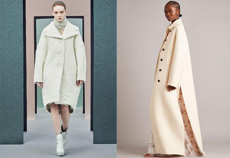 модное белое пальто на осень зиму