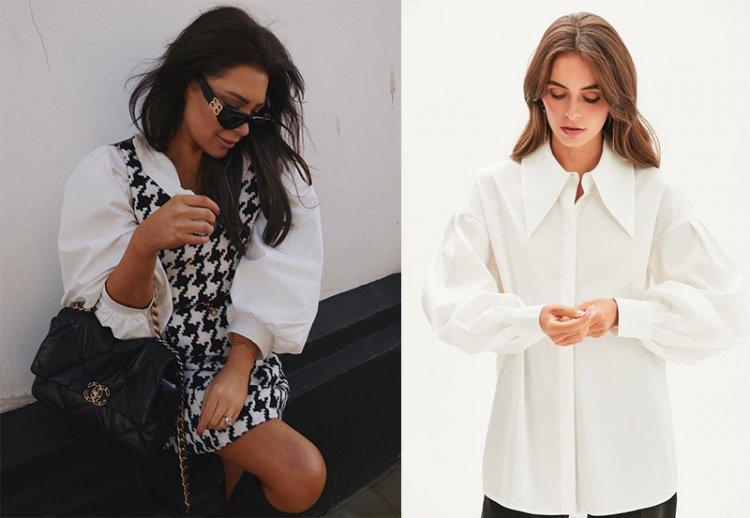белая блуза с объемными рукавами в стиле неоромантизм