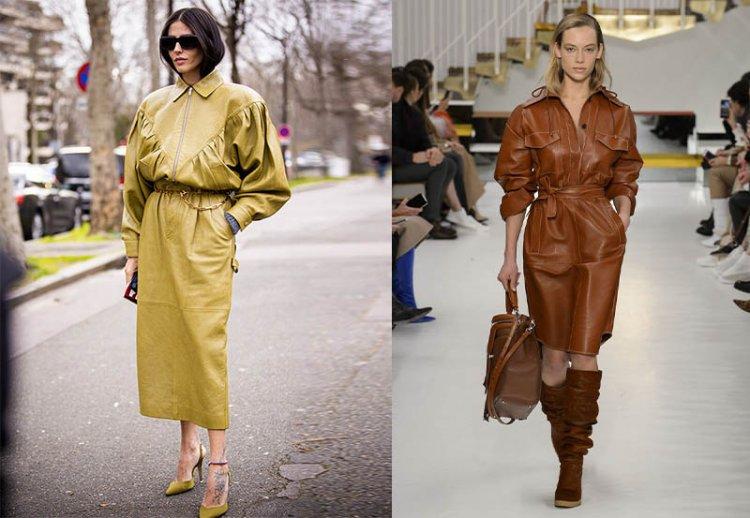 модные кожаные платья на осень 2021