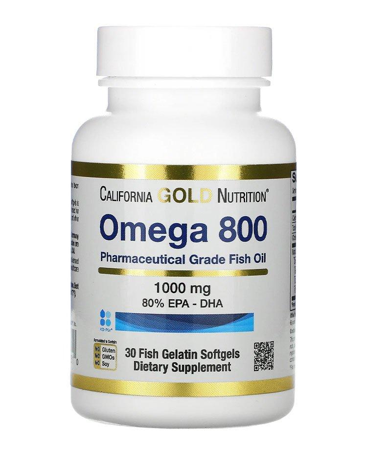 California Gold Nutrition, омега 800, рыбий жир фармацевтической степени чистоты, 80% ЭПК и ДГК, 1000 мг, 30 капсул из рыбьего желатина