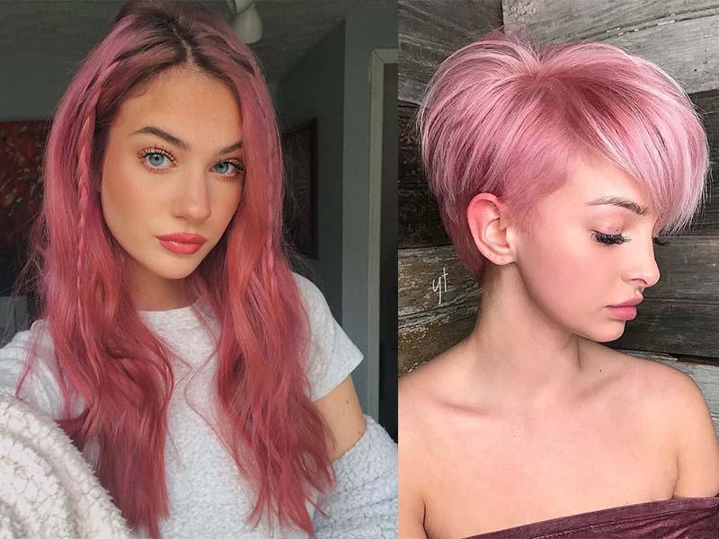 Модное окрашивание в розовый цвет