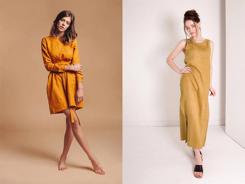 льняное платье цвета шафран