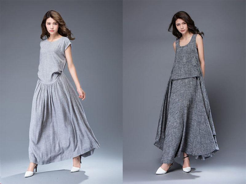 льняное серое платье