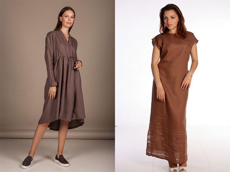 льняное коричневое платье