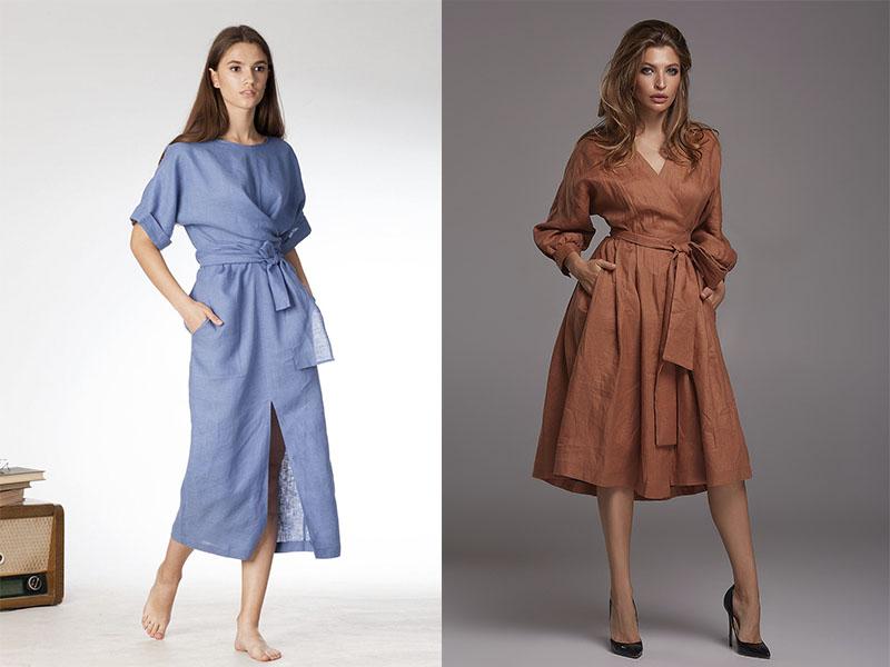 льняное платье халат