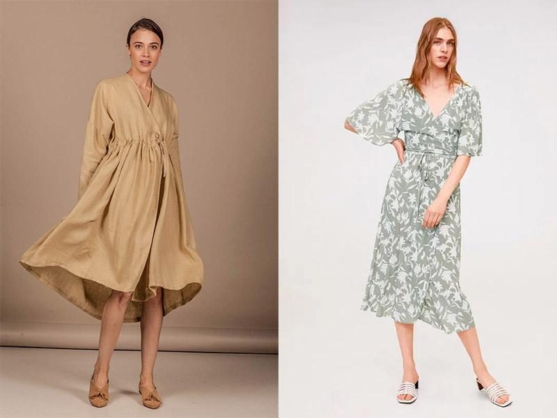 льняное платье кимоно