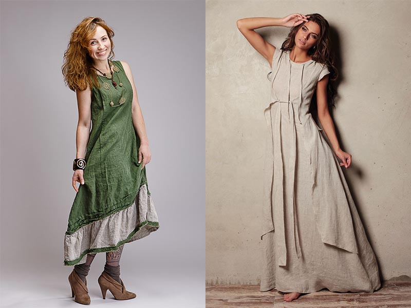 платье из льна бохо