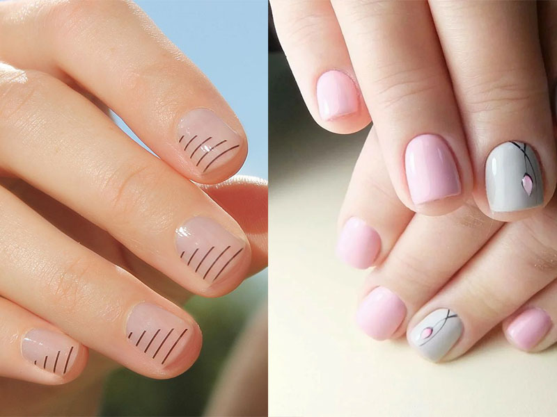 маникюр минимализм на короткие ногти