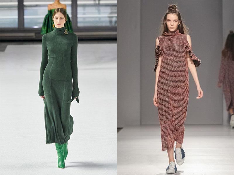 вязаное длинное платье